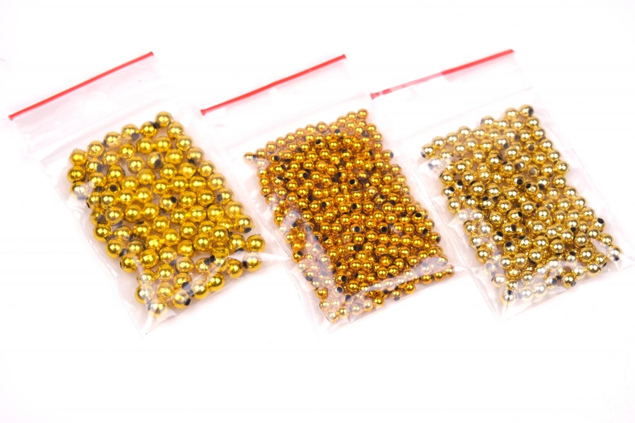 Korálky plastové zlaté kulaté vel.3,4,5mm balení 5g