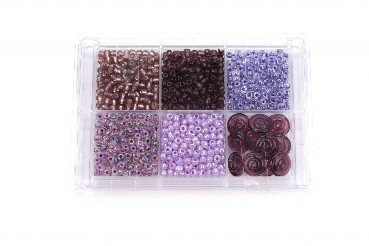Korálky skleněné sada cca 80g. fialová