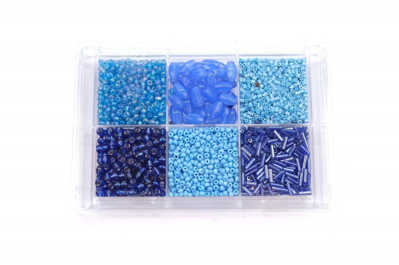 Korálky skleněné sada cca 80g. modrá