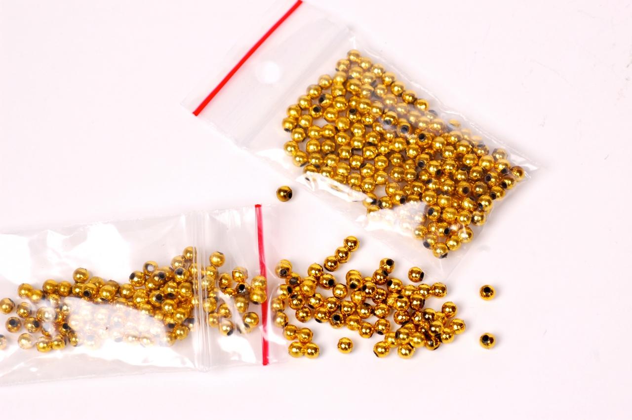 Korálky plastové zlaté 5g