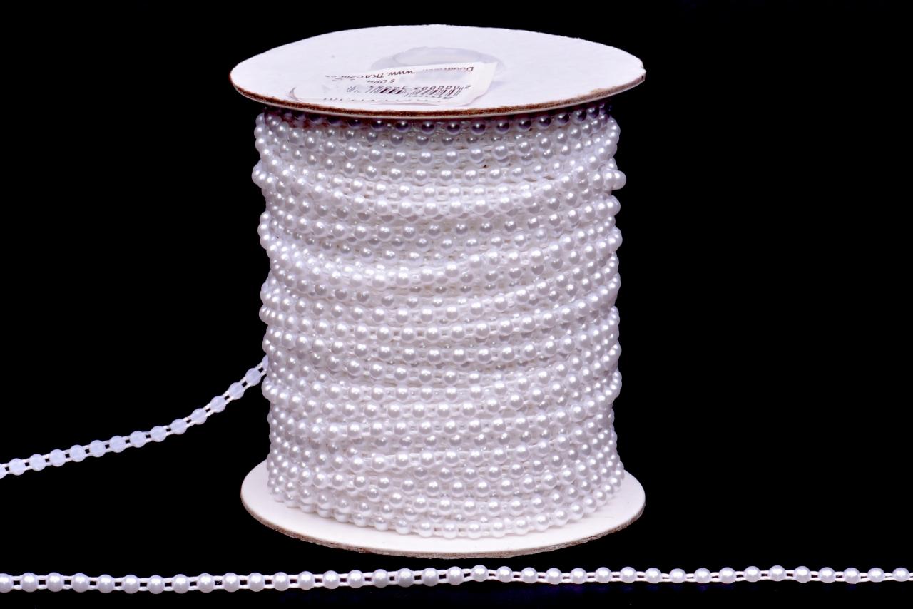 Půlperly na šnůře vel.3mm bílé