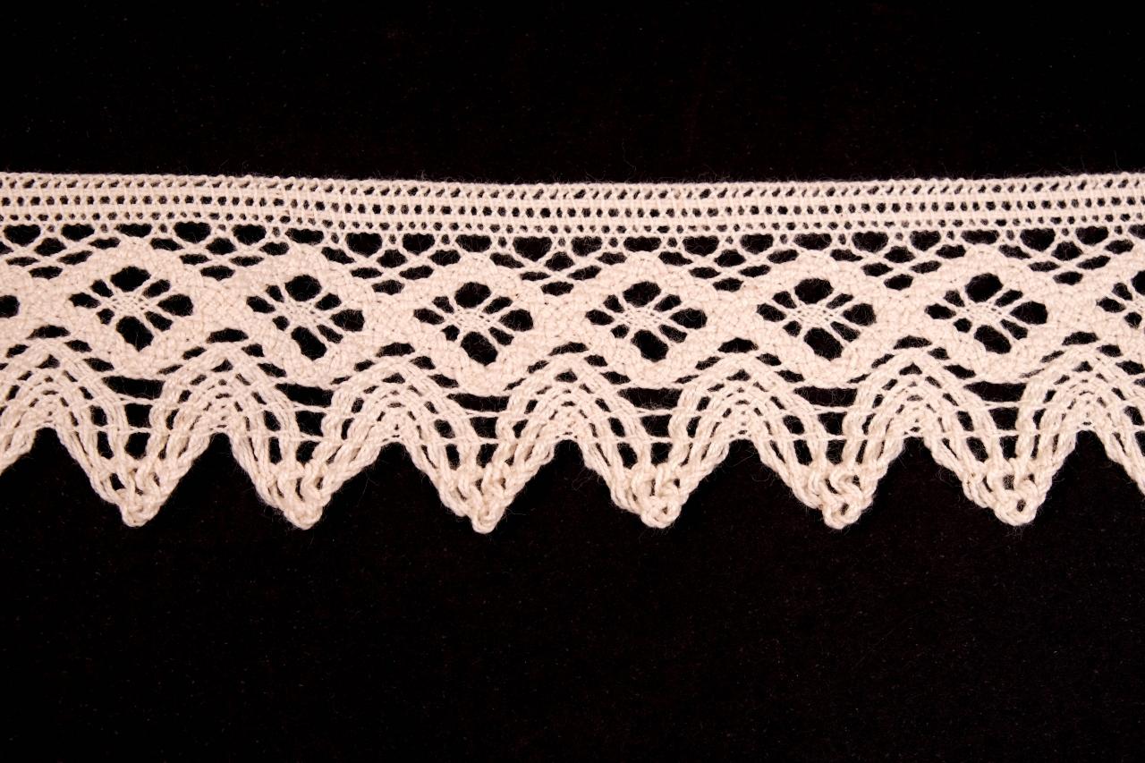 Krajka bavlněná 75222 paličkovaná šíře 46mm bílá