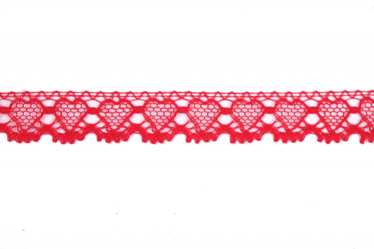 Krajka bavlněná 75133 paličkovaná šíře 19mm červená