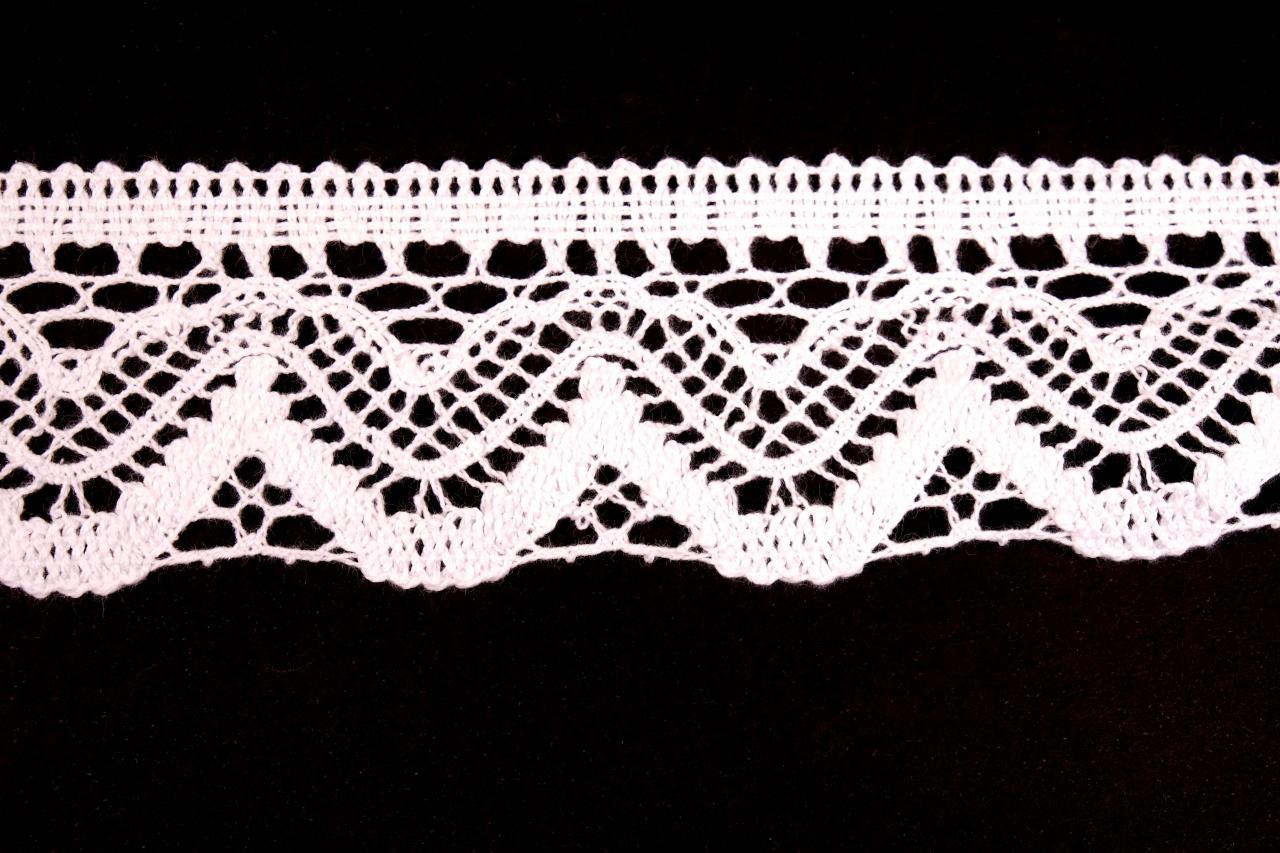 Krajka bavlněná 75301 paličkovaná šíře 58mm bílá