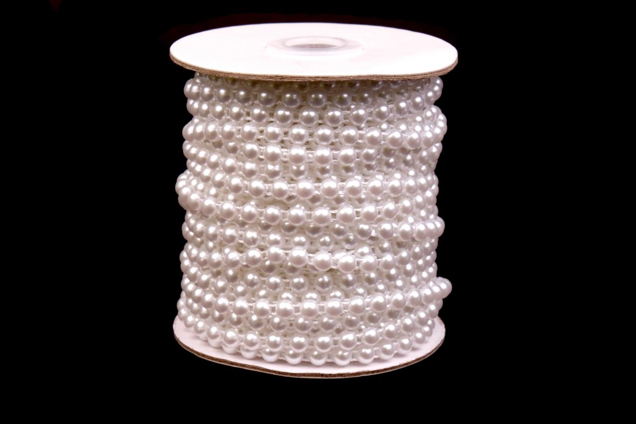 Půlperly na šnůře vel.6mm bílé