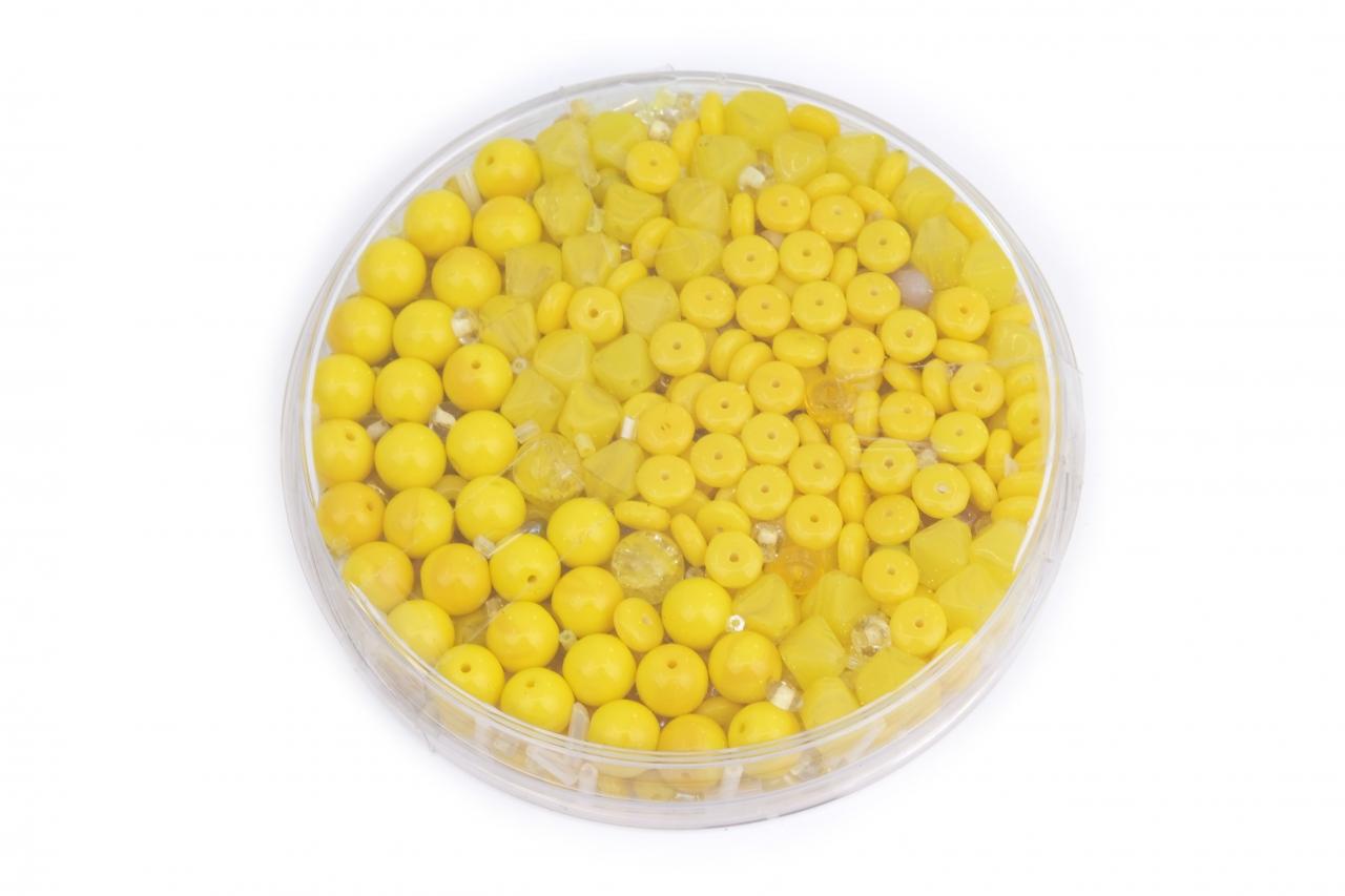 Korálky skleněné směs 120g žlutá