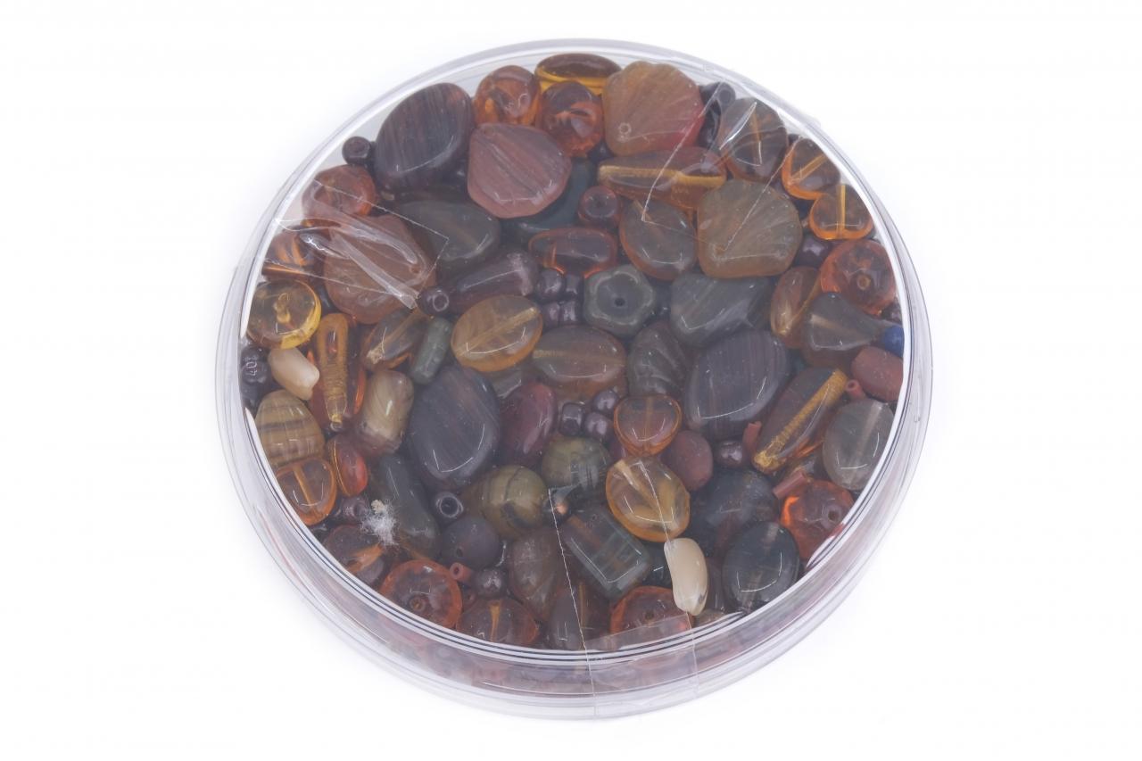 Korálky skleněné směs 120g hnědá