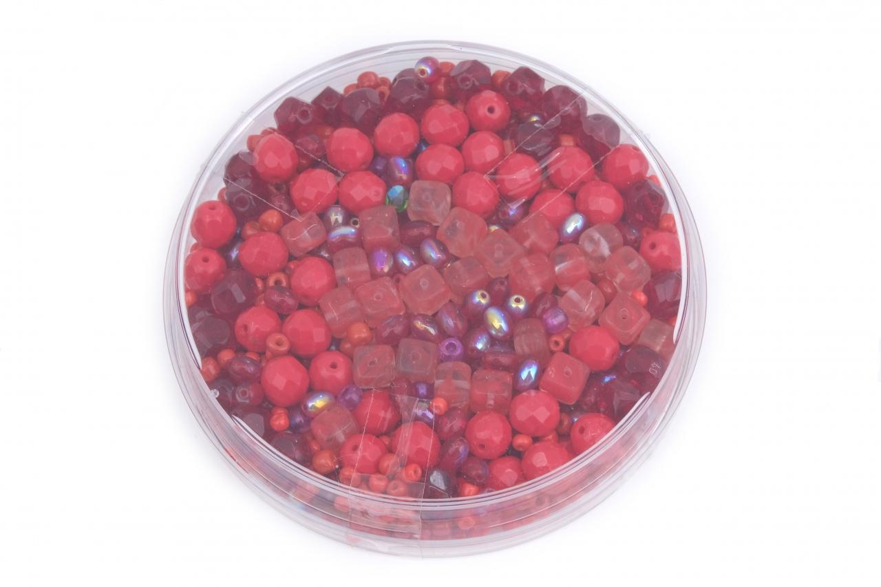 Korálky skleněné směs 120g červená