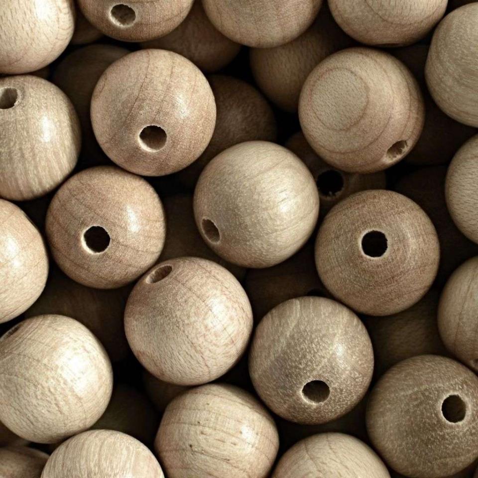 Korálky dřevěné přírodní vel. 14mm