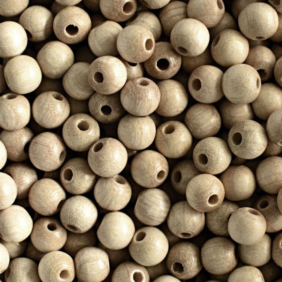 Korálky dřevěné přírodní vel. 8mm
