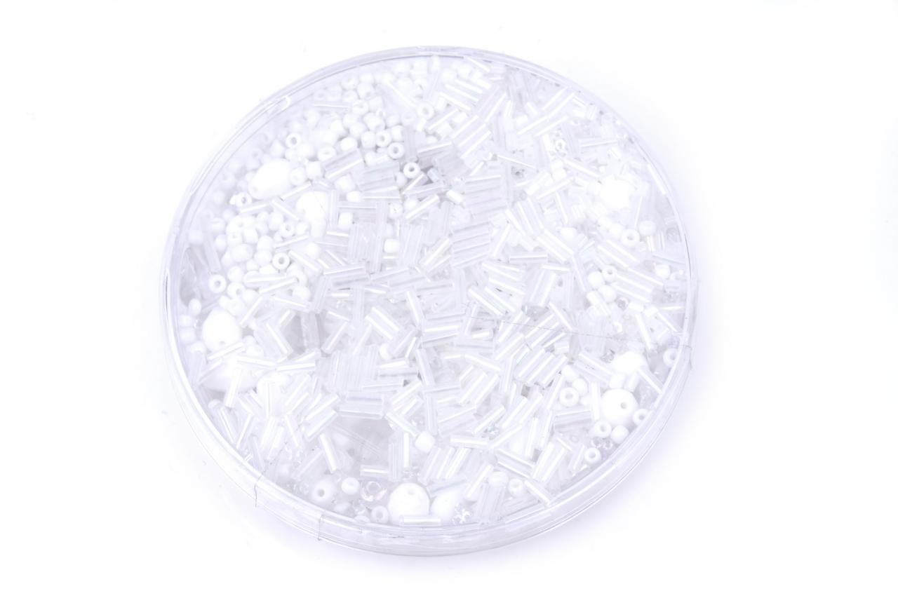 Korálky skleněné směs 120g bílá