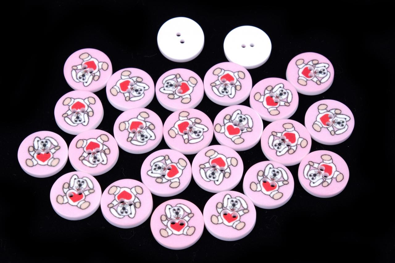 Knoflík růžový zajíček 331 vel.24 - 15,2mm