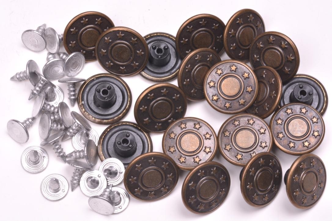 Knoflík Jeans 7019 hvězdy vel.26 -16,5mm